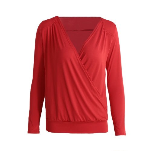 Camiseta de las mujeres con cuello en V manga larga de otoño Top Cruz sólido ocasional delgado Tee Top Beige / Rojo / Negro