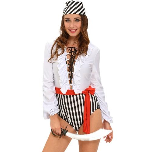 Nowej kobiet Halloween Naughty kostium pirata Tłoczenie V-neck Ruffles Lace-Up Flowing rękawy trzyczęściowy zestaw Biały