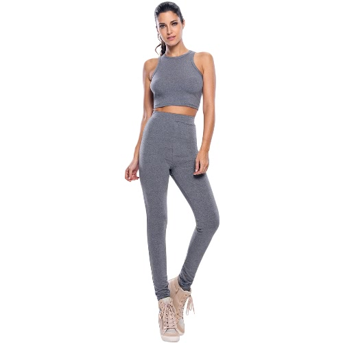 Fashion Women Two-Piece Sports Set Racer Back Crop Tank Top High Elastic Waist Long Pants Stretchy Gym Fitness Set Gray