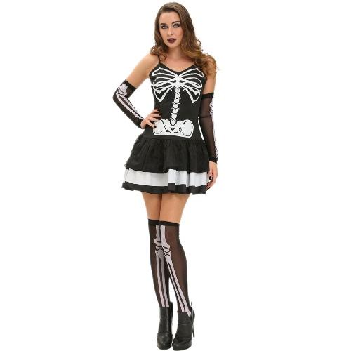 Seksowne kobiety 3pcs Skeleton Halloween Costume Mini suknia bez rękawów z Tier spódnica Slim Masquerade stroje z rękawiczką + Leg Warmers czerni