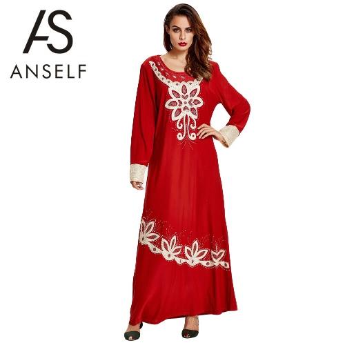 Anself New mulheres muçulmanas Maxi vestido longo Floral Imprimir Vintage solto Kaftan islâmica vestido vermelho / verde / amarelo