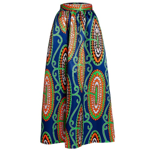 Nueva falda de las mujeres de África Imprimir Ankara de Dashiki de Bohemia de la alta cintura plisado una línea Maxi falda de la llamarada