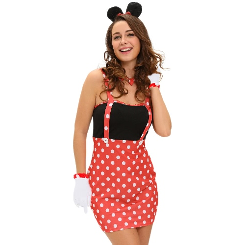 Sexy Frauen 4pcs Halloween-Kostüm MiniBodycon Kleid Punkt-Druck-Sleeveless mit Handschuhe + Halsband + Hairpin Cosplay Red