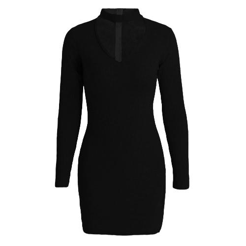 Partido de las mujeres la nueva del vestido bodycon Gargantilla cuello en V manga larga sólido acanalado caliente Clubwear del mini vestido Negro / Gris