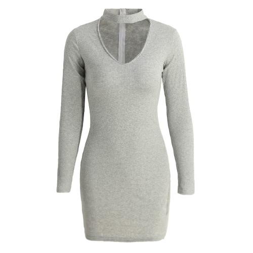 Donne aderente Nuovo vestito sexy scollo a V girocollo a maniche lunghe solido costine caldo mini vestito da partito di Clubwear Nero / Grigio
