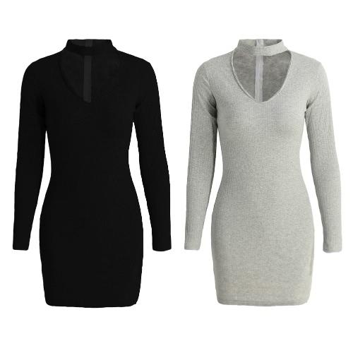 TOMTOP / New Sexy Mulheres Bodycon vestido Choker Pescoço V manga comprida Sólidos com nervuras quente vestido de festa Mini Clubwear Black / Grey