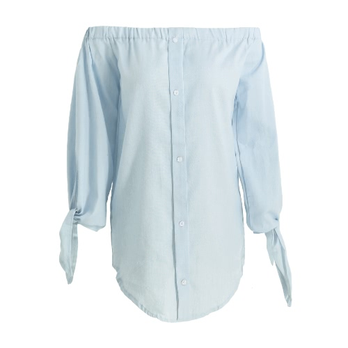 New Women Denim Off-Shoulder Blouse Slash Neck Arm Tie Buttons Curve Hem Casual Top Blue/Light Blue