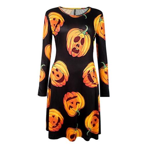 New Women Halloween Dress Pumpkin Print Long Sleeves O-Neck Party Evening A-Line Mini Dress