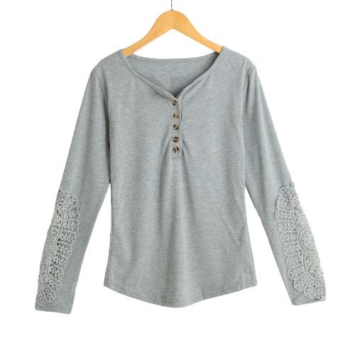Casual Blusa Mulheres Lace emenda T-shirt do encerramento camisa de manga longa de Slim Lazer Top TeeGrey