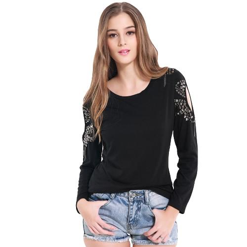 Nowe kobiety mody Zimne ramię Top Solid Color Round Neck Long Sleeve Koszulka Czarny