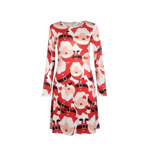 Vestido de la Navidad del muñeco de nieve nueva Mujeres Santa Imprimir O-cuello de manga larga A-Line Holiday Party