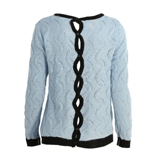 New Fashion Women Knitted Jumper Cable Buttoned Back Hollow Out Contrast Ribbed Trims Casual Sweater Blue
