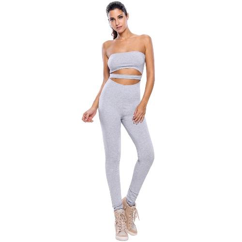 Neuer Frauen-Spielanzug-Overall Capri lange Hosen Ausschnitt Strapless Bodysuit Fitness Bodycon Playsuit Grau