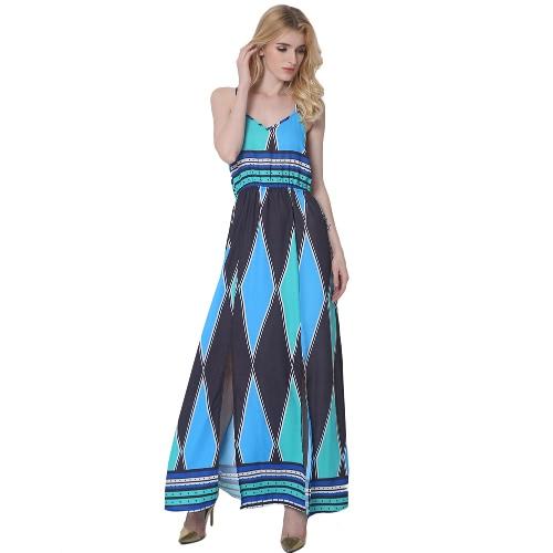 Kobiety Cami Sukienka Colorblock Geometryczny Wzór Wydruku V Bez Rękawów Szyjkowych Side Split Maxi Casual One-Piece Blue
