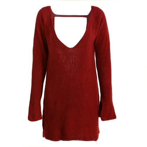 Nuevo atractivo de las mujeres suéter de punto sin respaldo profundo cuello en V manga larga floja caliente del jersey Tops Prendas de punto rojo / de color caqui / verde del ejército