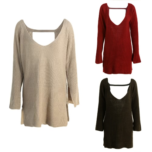 New Sexy Women Knitted Sweater Backless Deep V-Neck Long Sleeve Loose Warm Pullover Tops Knitwear Red/Khaki/Army Green