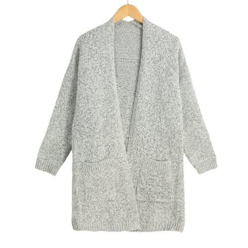 Las nuevas mujeres Cardigan de punto flojos sólidos bolsillos delanteros abiertos mangas largas ocasional gris Escudo de abrigo