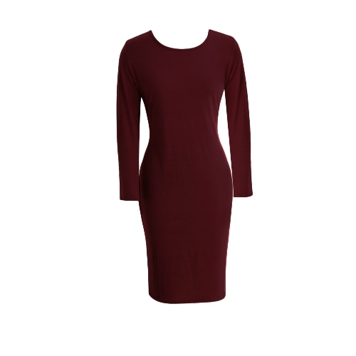 New Fashion Kobiet Bodycon Dress Round Neck Long Sleeves Casual Sheath Slim Midi Sukienka Szara / Jasnoszary / Burgundia