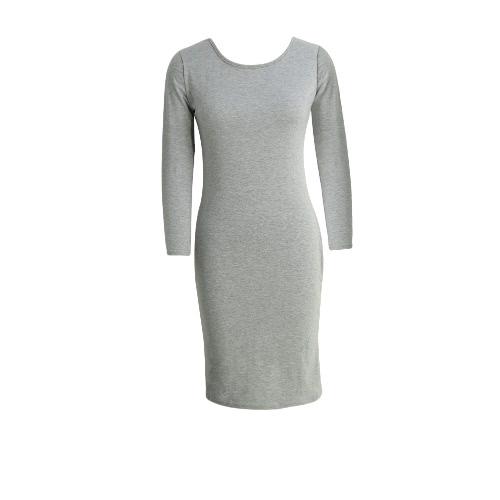 Nueva manera de las mujeres Vestido ajustado de cuello redondo de manga larga ocasional de la envoltura delgada Midi vestido gris / gris claro / Borgoña