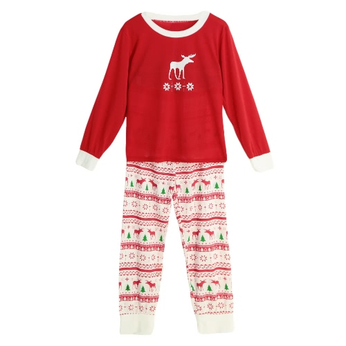 New Mulheres de duas peças conjunto de pijama de Natal Pijamas O-Long Neck mangas Casual Brasão House Principais calças vermelhas
