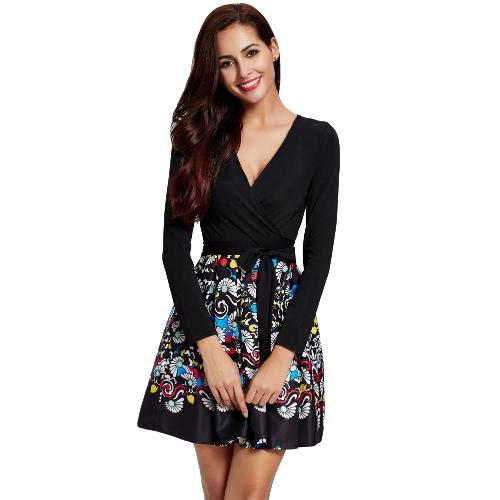 Vestido Mulheres elegantes do impressão Cruz profunda V-Neck plissadas manga comprida Partido Belt Evening A-Line Vestido de preto / branco
