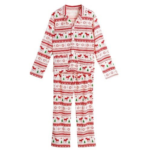 Neue Frauen-Zwei-teiliges Set Pyjama Weihnachten Nachtwäsche Turn-Down-Kragen Lange Ärmel Tasten Weiß