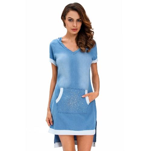 Fashion Women Denim Dress Hooded V-Neck Rhinestone Front Pocket Hi-low Hem Casual Shirtdress Blue