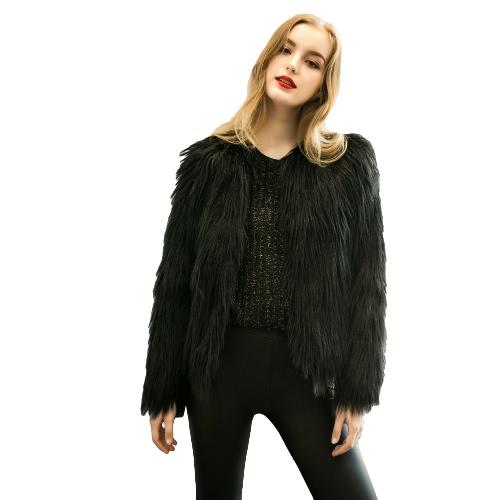 Brasão nova Inverno mulheres peles artificiais frente aberta manga comprida Fluffy Casacos revestimento morno Overcoat curto