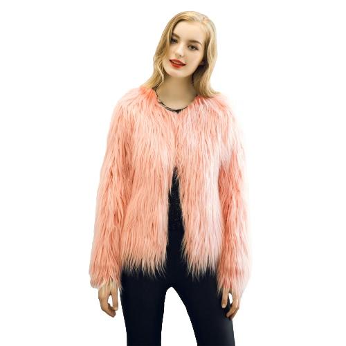 La nueva capa del invierno de las mujeres de piel sintética de frente abierto de manga larga mullida vestir exteriores caliente de la chaqueta corta Abrigo