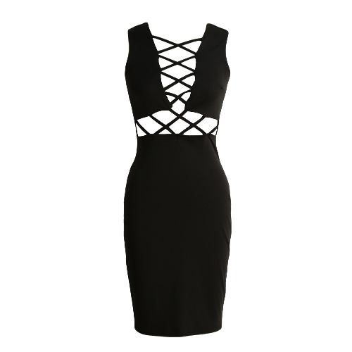 New Fashion Women Dress Solid Color Sleeveless Cross Strap Slim Bodycon Dress Rose/Black
