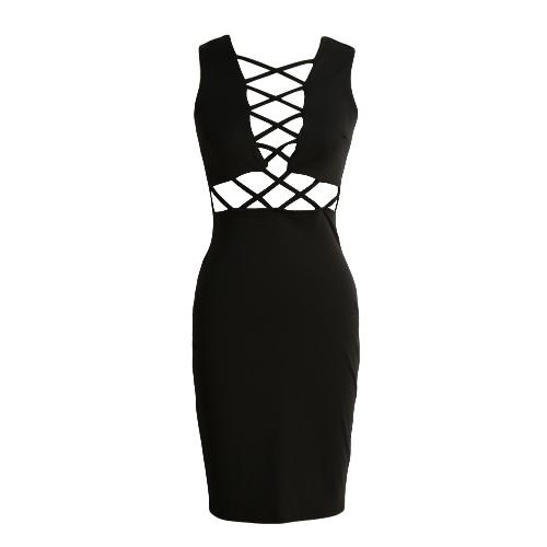 New Fashion Dress Women Solid Color manches Cross Strap Slim Robe moulante Rose / Noir