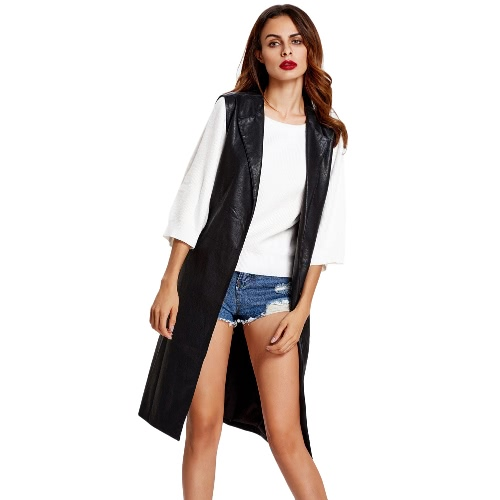 Fashion Women Vest Coat Faux Leather Notched Collar Sleeveless Long Waistcoat Jacket Outerwear Black/Brown/Army Green