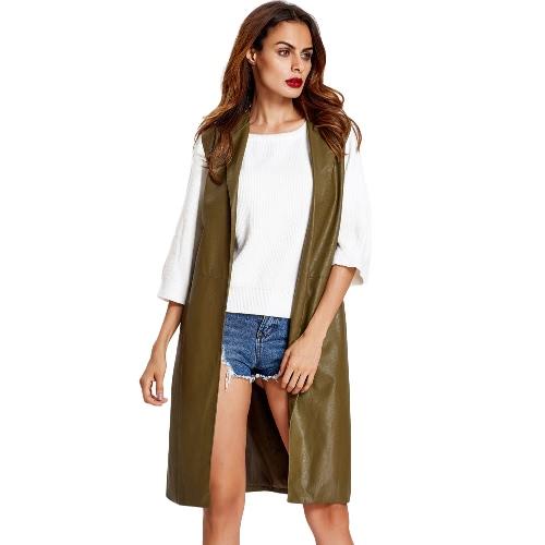 Manera de las mujeres chaleco de la capa de cuero de imitación con muesca de cuello largo sin mangas del chaleco de la chaqueta de abrigo Negro / marrón / verde del ejército