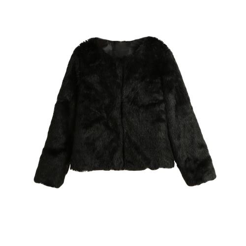 Neue Winter-Frauen Faux-Pelz-Mantel vorne offen Round Neck Langarm Fluffy warme Oberbekleidung Overcoat