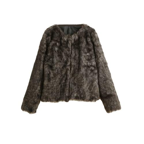 La nueva capa del invierno de las mujeres de piel sintética de frente abierto de cuello redondo de manga larga mullida Calentar prendas de vestir exteriores del sobretodo