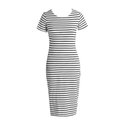 Vestido del vendaje de la nueva manera de las mujeres rayó el vestido de Midi O Cuello de manga corta hendidura lateral ocasional