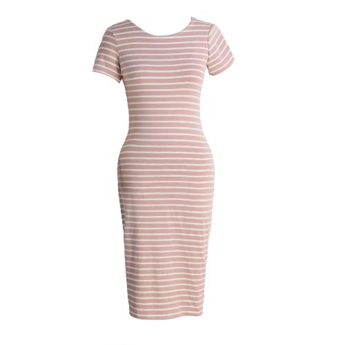 New Fashion Kobiety Striped Midi Sukienka O Naszyjnik Krótki Sukienka Suknia Casual Bandage Dress