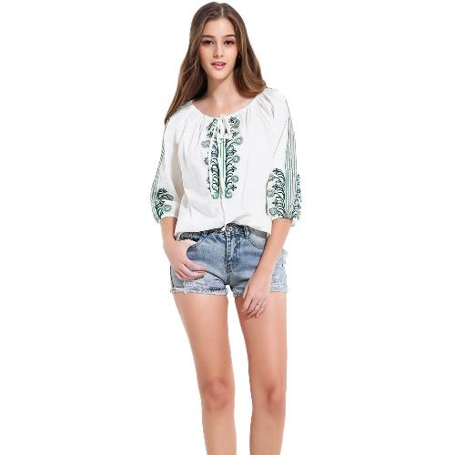 Las nuevas mujeres de la vendimia de la blusa con cordones O-Cuello acanalado bordado de las mangas de tres cuartos Blanco Holgado