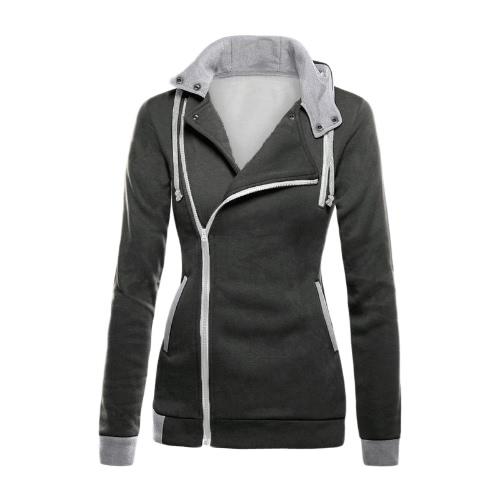 New Fashion Women Hoodie Sweatshirts Coat Wraparound Oblique Zipper Self-Tie Pockets Button Hooded Jacket Coat Outwear Black/Dark Gray/Gray