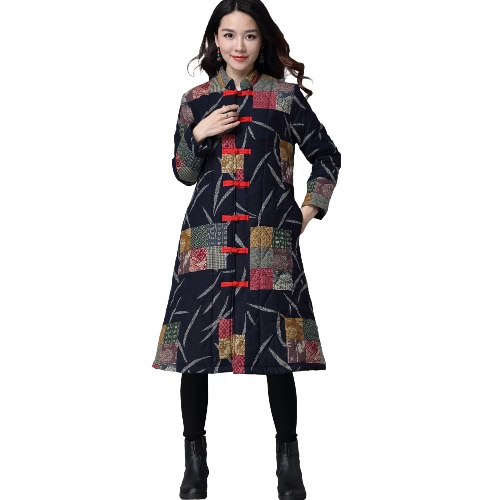 Fashion Women Winter Contrast Print Coat Open Front Frog Button Pockets Vintage Plaid Outerwear Long Coat Red/Dark Blue