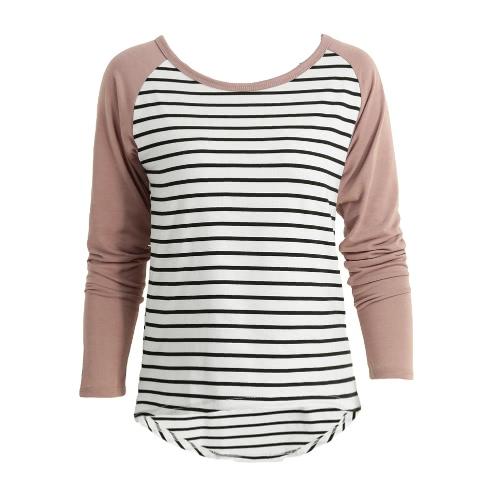 Las mujeres de la nueva manera camiseta Contraste de rayas de manga larga de mayor a menor dobladillo de la blusa Camiseta casual Tops café / púrpura