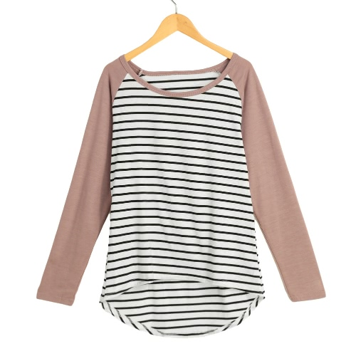 New Fashion Women T-Shirt Contrast Striped Long Sleeve High-Low Hem Casual Blouse Tee Tops Coffee/Purple
