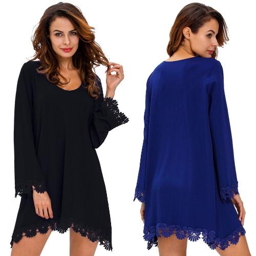 TOMTOP / Moda Loose Women Vestido Crochet guarnição Sexy Pescoço da colher manga comprida Mini balanço vestido azul marinho / preto
