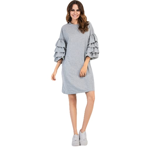 New Fashion Women Dress Solid Color Round Neck Three Quarter Layered Sleeve Casual Mini Dress Burgundy/Grey/Black