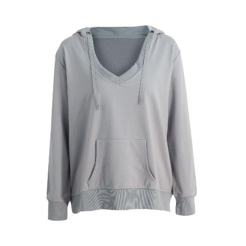 Mujeres de profundo atractivo del nuevo cuello en V manga larga camiseta de los Hoodies bolsillo canguro sólido suelto Jumper Sudadera Negro / Gris