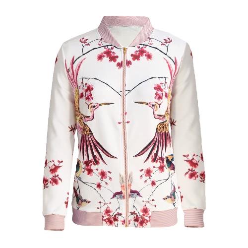 Nuevas mujeres forman la chaqueta de bombardero Aves floral rayado Imprimir soporte colloar de manga larga capa del béisbol Blanco ocasional