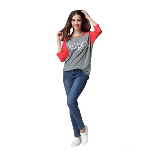 Mulheres Moda de Nova T-shirt Carta Contraste de impressão a cores luva dos três quartos Casual Algodão Blusa T Tops Cinza