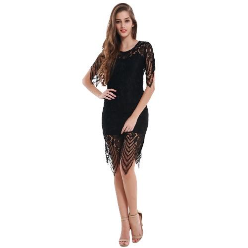 Vestido de las mujeres de la manera del cordón del ganchillo del color sólido del cuello redondo sin respaldo dobladillo irregular de la guarnición de Bodycon del vestido de Negro