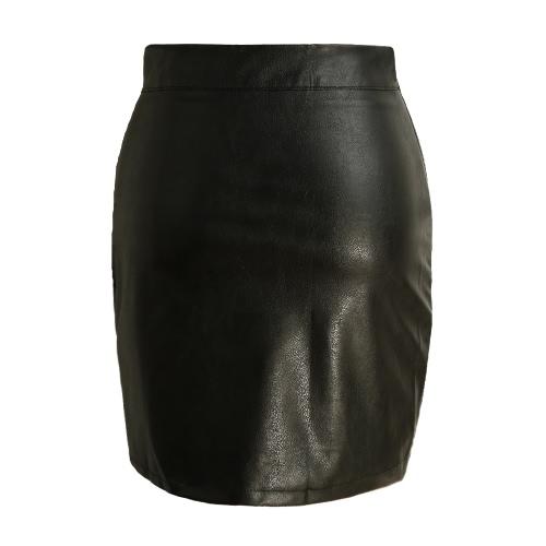 New couro sexy Mulheres PU Saia Bodycon Dividir cor sólida cintura alta curto Mini saia apertada saia preta