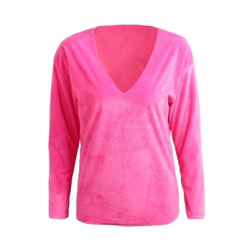 New Sexy Frauen-T-Shirt Top mit V-Ausschnitt Langarm-Samt-feste beiläufige Tees Top